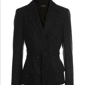 Escada Jacket Blazer Black Wool Tie Waist 45 XL
